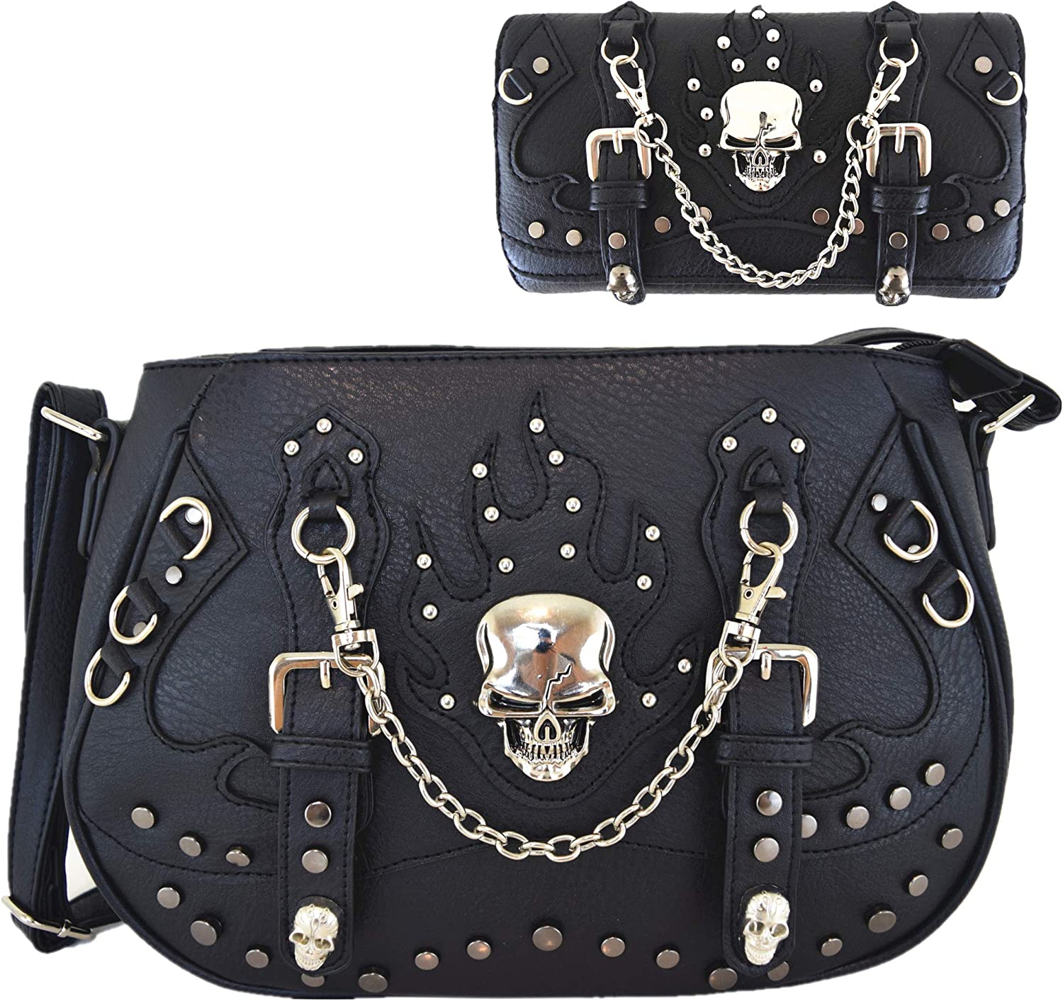 Punk Gothic Skull Chain Crossbody Handbag Concealed Carry Purse Women Single Shoulder Bag/Wallet Black