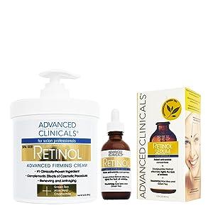 Advanced Clinicals 2 piece retinol skin care set. 16oz Spa Size Retinol Firming Cream and 1.75oz Retinol Serum for wrinkles, fine lines, age spots.