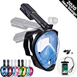 Dekugaa Full Face Snorkel Mask, Adult Snorkeling Mask with Detachable Camera Mount, 180 Degree Panoramic Viewing Upgraded Dive Mask with Safety Breathing System
