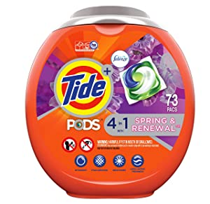 Tide Pods Liquid Laundry Detergent Pacs, Spring & Renewal, 73 Count - Packaging May Vary