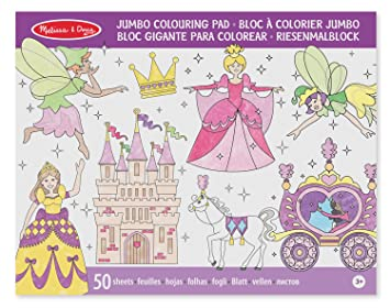 Melissa & Doug Jumbo 50-Page Kids\' Coloring Pad Activity Book - Princess  and Fairy