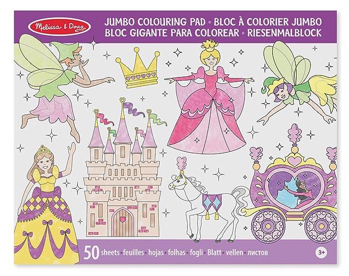 Amazon Com Melissa Doug Princess And Fairy Jumbo Coloring Pad