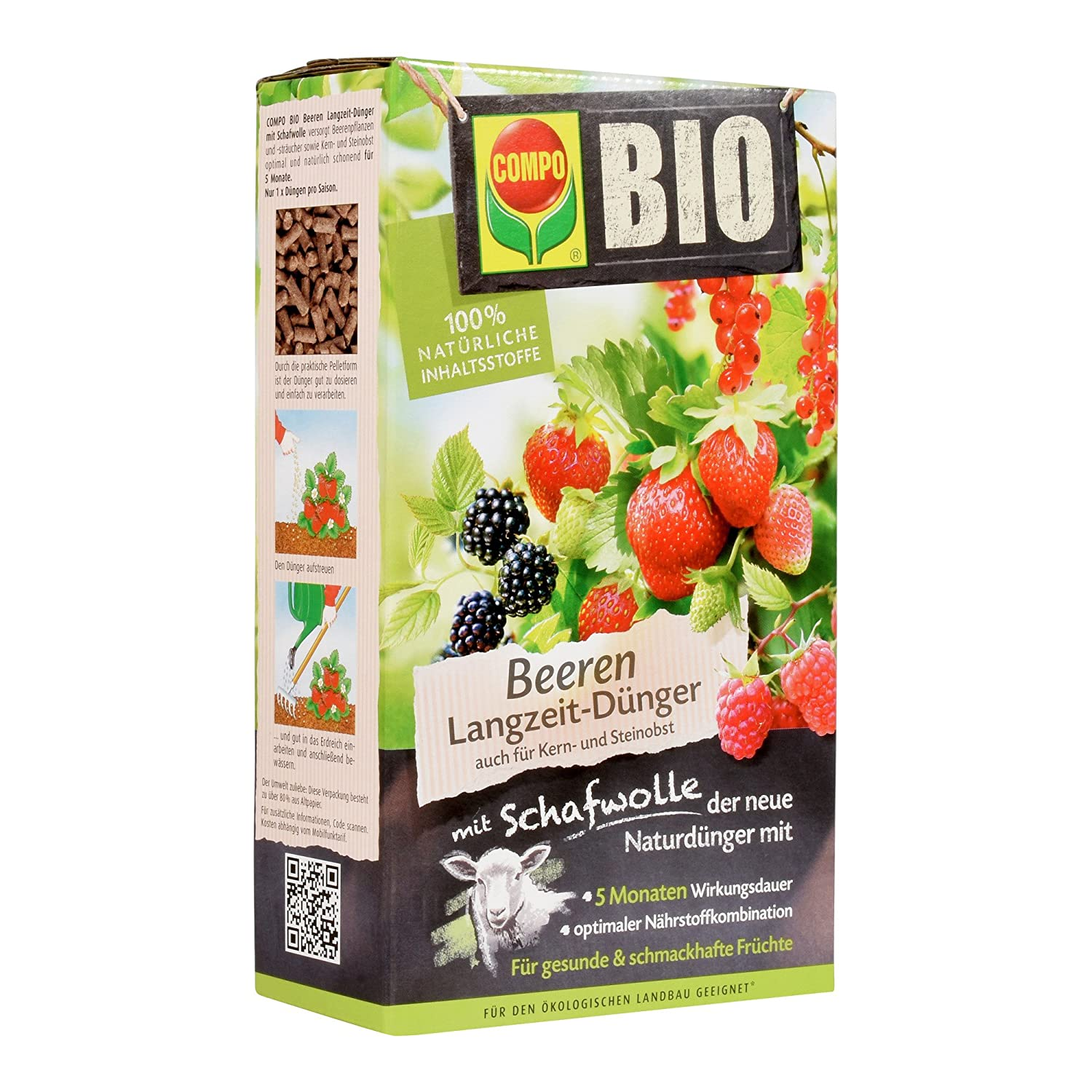Compo 20299 Organic Berry Slow-Release fertiliser with wool, 2 kg