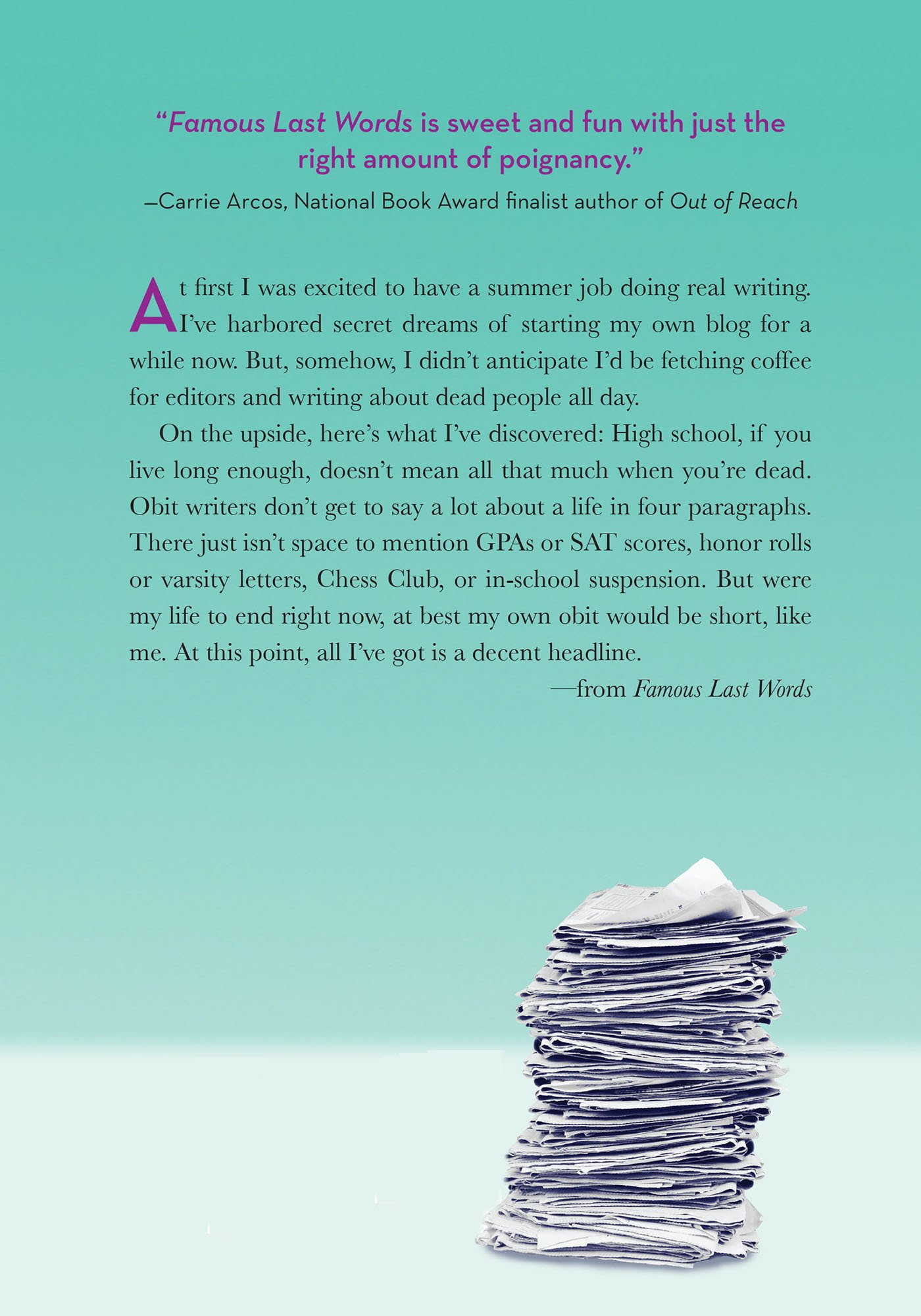 Amazon: Famous Last Words (9780805093674): Jennifer Salvato Doktorski:  Books