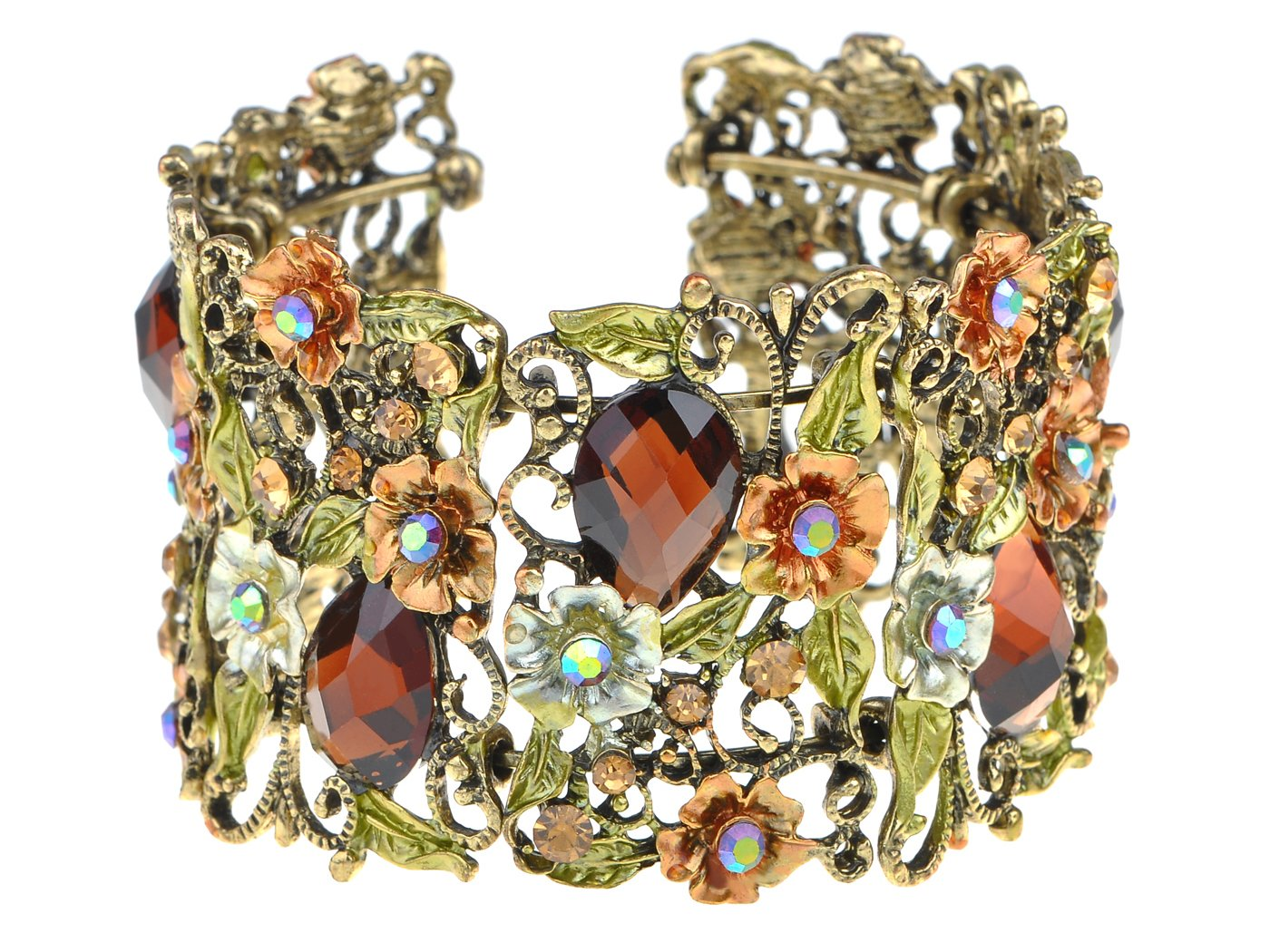 Alilang Antique Hollow Vintage Floral Topaz Crystal Rhinestone Flower Garden Bracelet Bangle Cuff