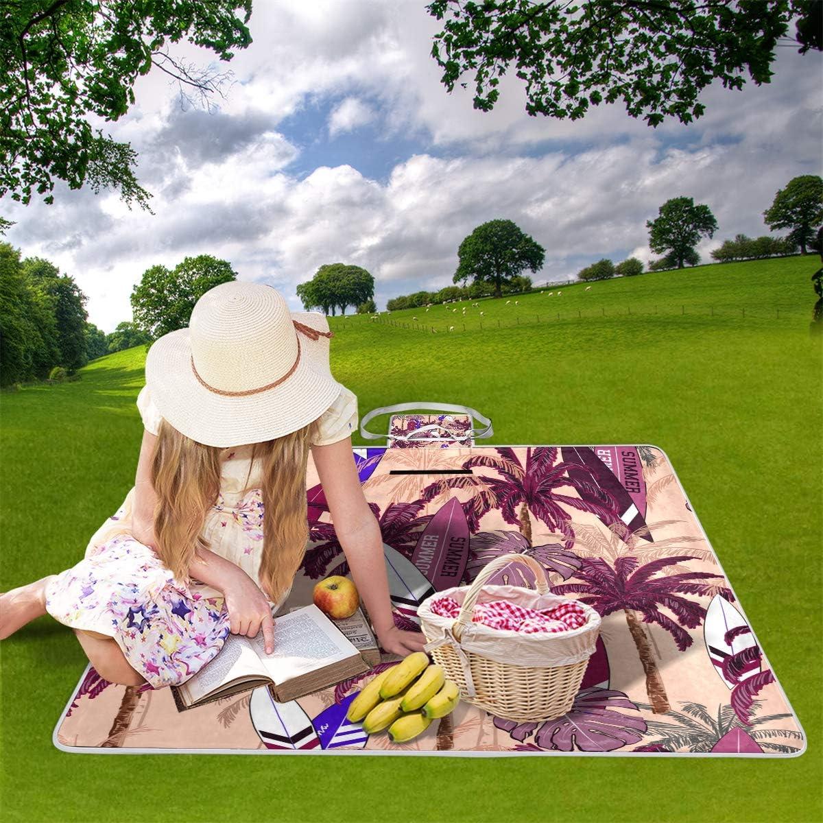 XINGAKA Coperta da Picnic Tappetino Campeggio,Carta da Parati Botanica del Modello Senza Cuciture di Vettore di Estate,Giardino Spiaggia Impermeabile Anti Sabbia 13