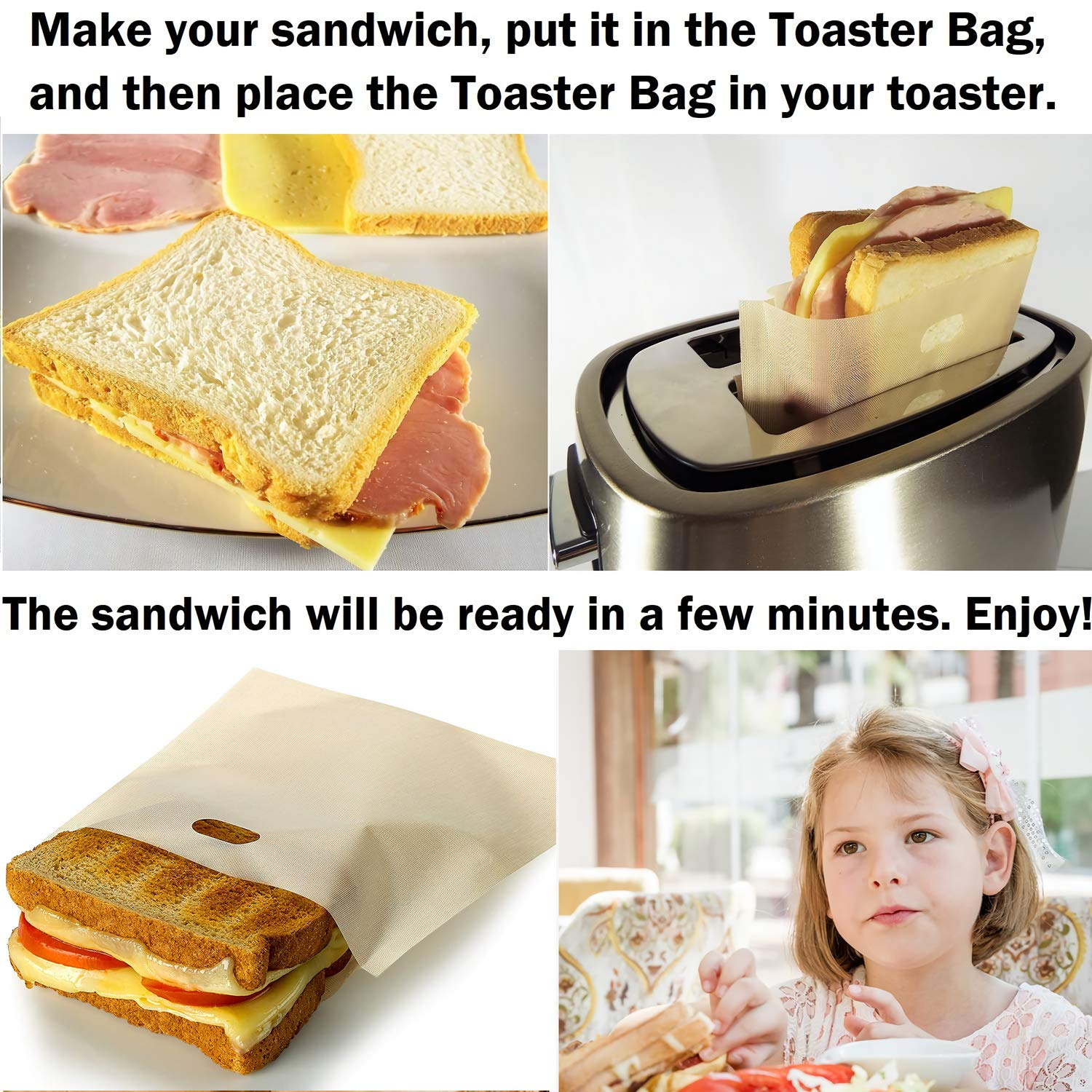 Non Stick Toaster Grilled Cheese Bags Reusable and Heat Resistant Easy to Clean, Gluten Free, FDA Approved, Perfect for Sandwiches, Chicken, Nuggets, Panini and Garlic Toasts - 10 Pcs by Famebird (Image #1)