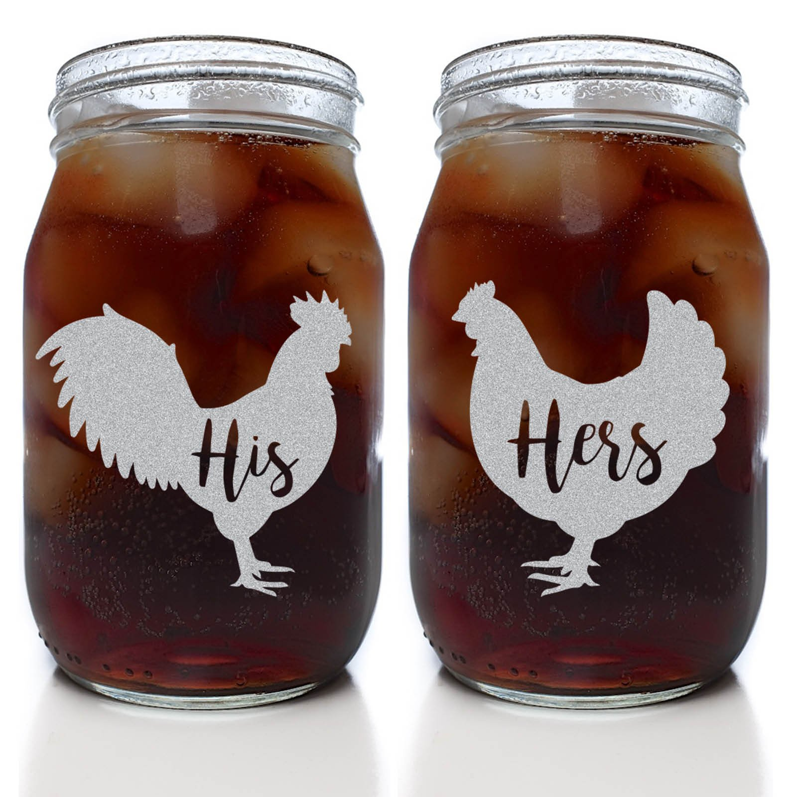 Alder House Market His and Hers Country Style Chicken Mason Drinking Jars (Set of 2 Clear 16 oz. Mason Jar Glasses)
