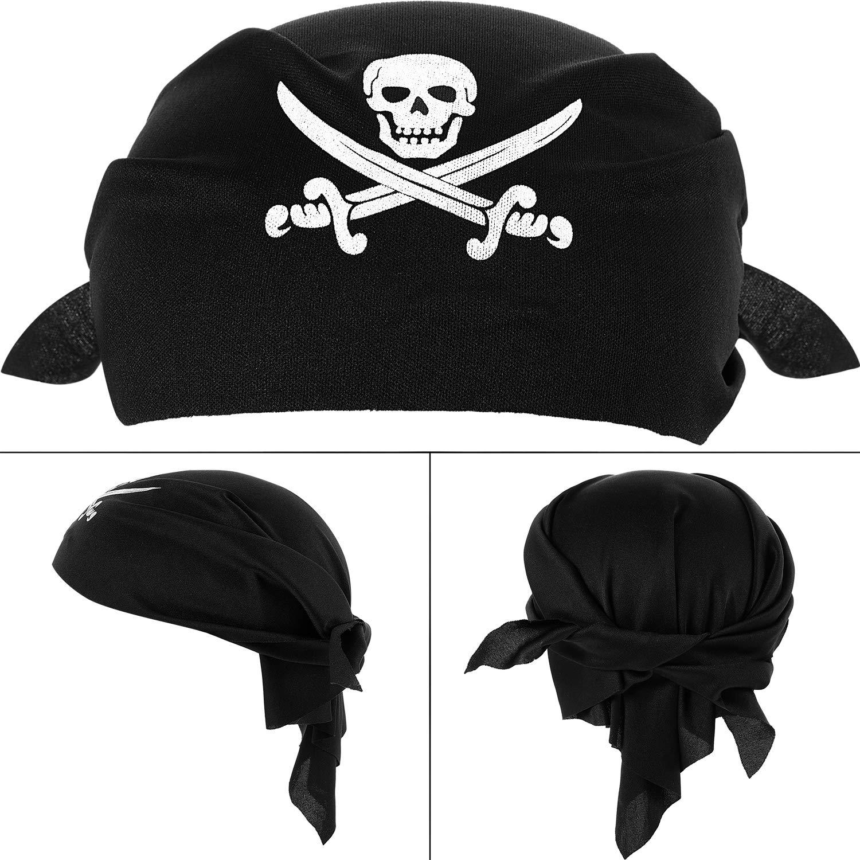 12 Piezas de Pañuelo de Pirata Braga de Cabeza de Capitán Pirata Negra para  Fiesta Temática de Pirata 32522439fd5