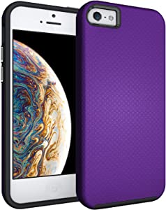 IPASON iPhone 5S Case,iPhone SE Case(2016),iPhone 5 Case,Dual Layer Light Durable Scratch Anti Shockproof Protective Cover for Apple iPhone 5/5S/SE(2016)-Violet