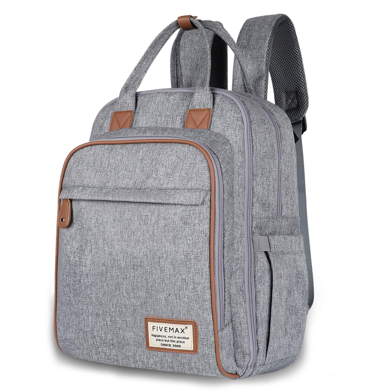 b926d577d1 Amazon.com : Diaper Bag, FIVEMAX Diaper Bag Backpack with Changing Mat,  Large Capacity Waterproof & Dustproof, Gray : Baby
