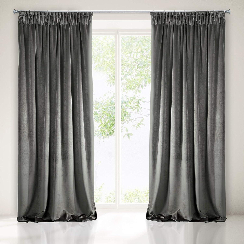 Eurofirany Blackout Velvet Graphite Curtains Soft Ruffle Tape Elegant Ebay