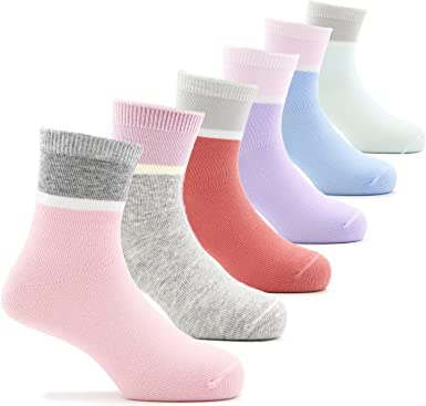 Amazon.com: Girls Crew Socks Cotton Athletic Socks For Girls 6 Pack:  Clothing