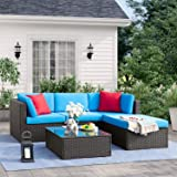 Tuoze 5 Pieces Patio Furniture Sectional Set Outdoor All-Weather PE Rattan Wicker Lawn Conversation Sets Cushioned Garden Sofa Set with Glass Coffee Table (Blue)