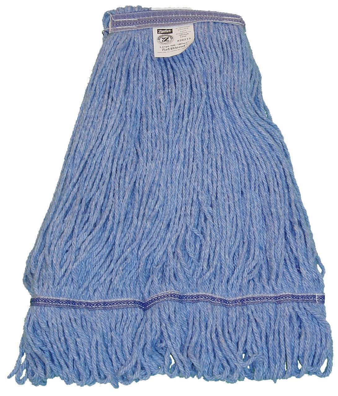 Zephyr 28258 HC/Blend Blue 4-Ply Yarn X-large Health Care Loop Mop Head with 1-1/4'' Narrow Headband (Pack of 12)