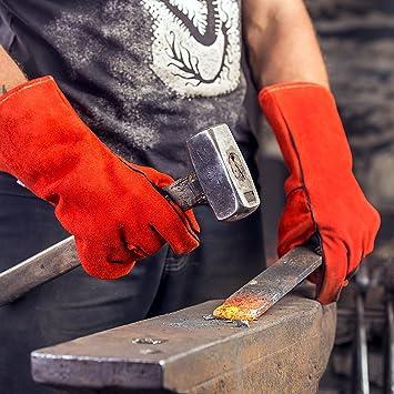 Guantes para soldadura y barbacoa - Resistente al calor y llamas resistentes, cuero de vaca de alta calidad, protección para el antebrazo de 35 cm de ...