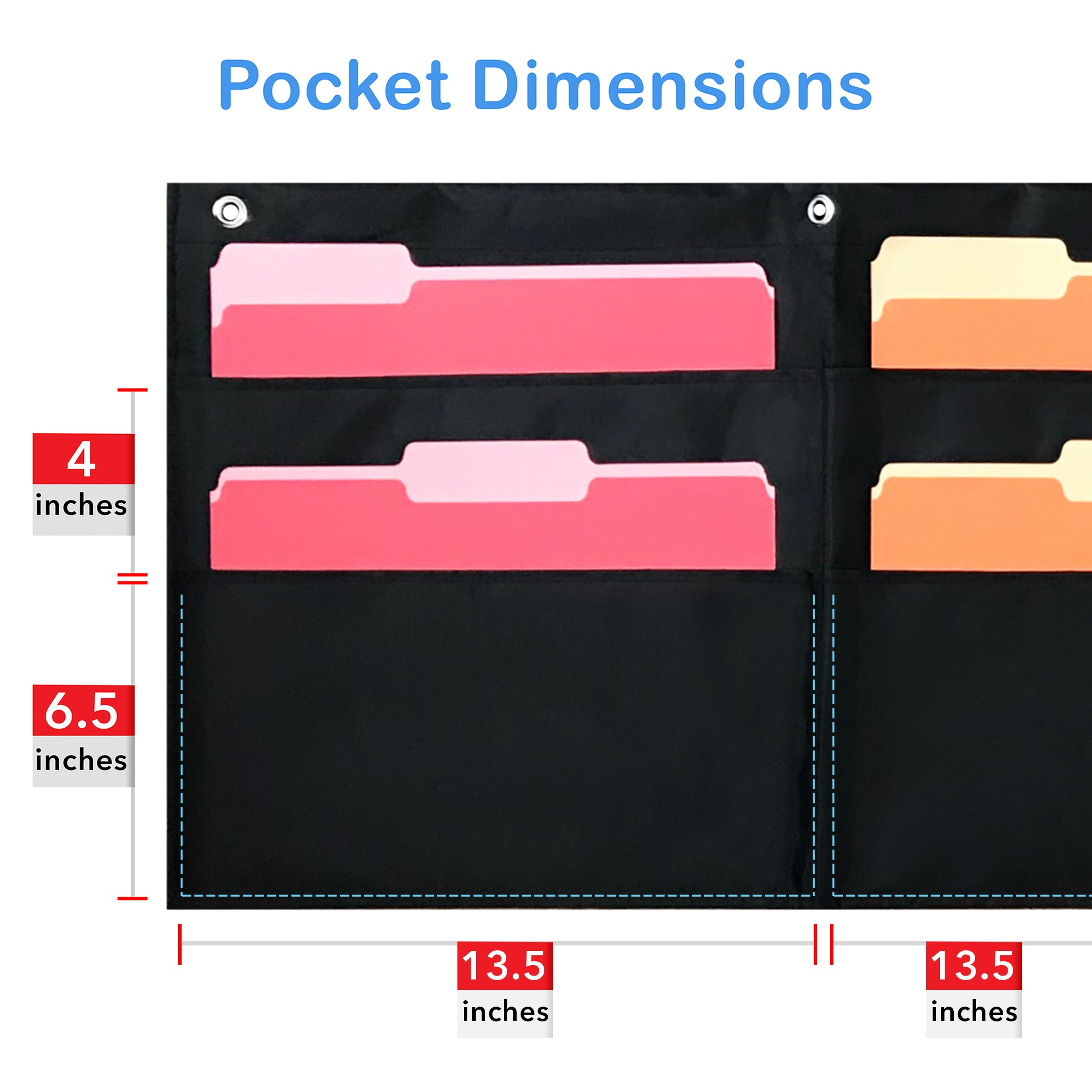 10 Pocket Horizontal Storage Pocket Chart, Hanging Wall File Organizer by Essex Wares - Organize Your Assignments, Files, Scrapbook Papers & More (Black) by Essex Wares (Image #2)