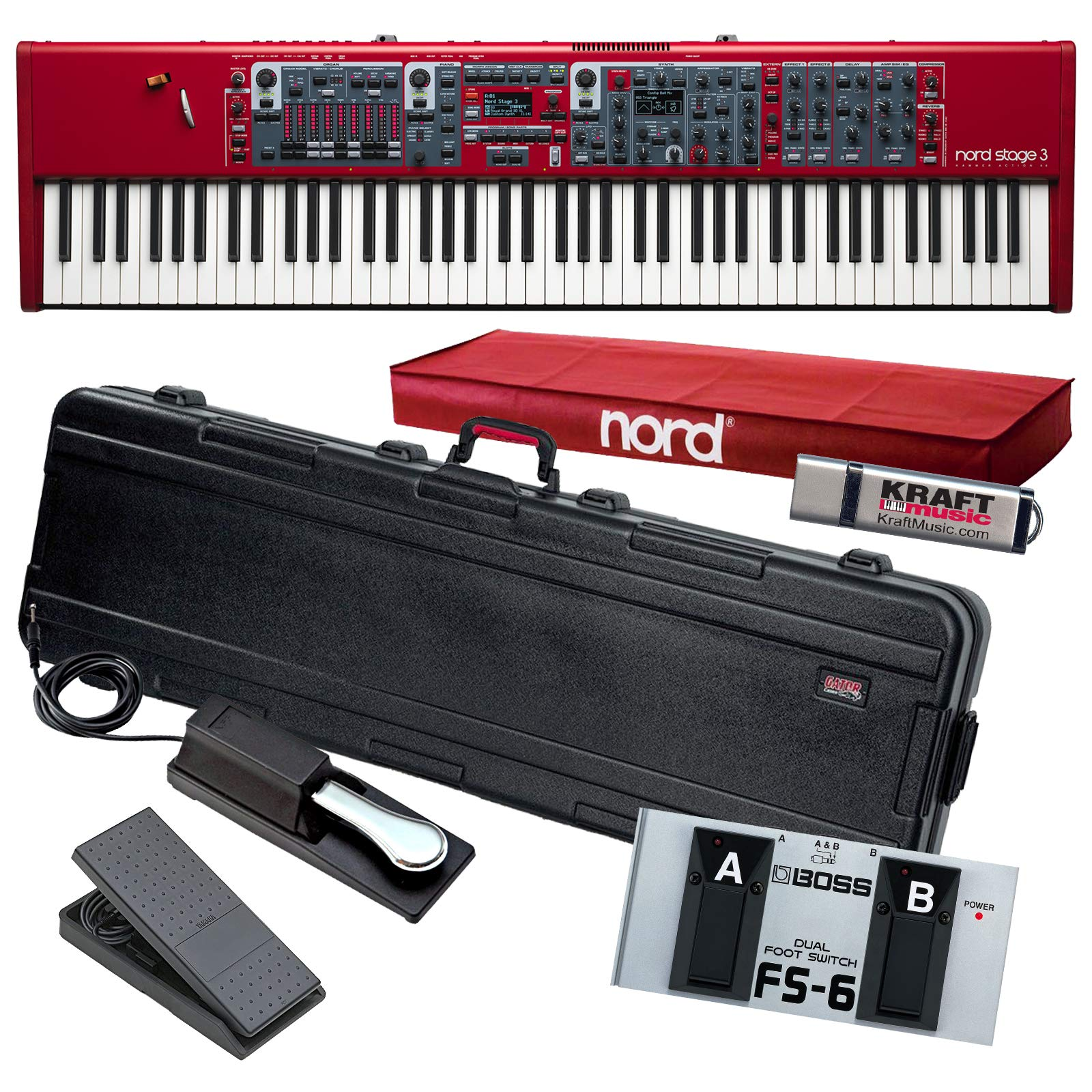 Nord Stage 88 Stage Piano with Gator TSA Case, Yamaha FC7 Pedal, Switch, Drive by Nord