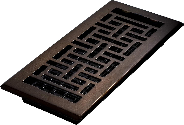 Decor Grates AJH410-RB Oriental Floor Register, 4x10, Rubbed Bronze - Heating Vents -