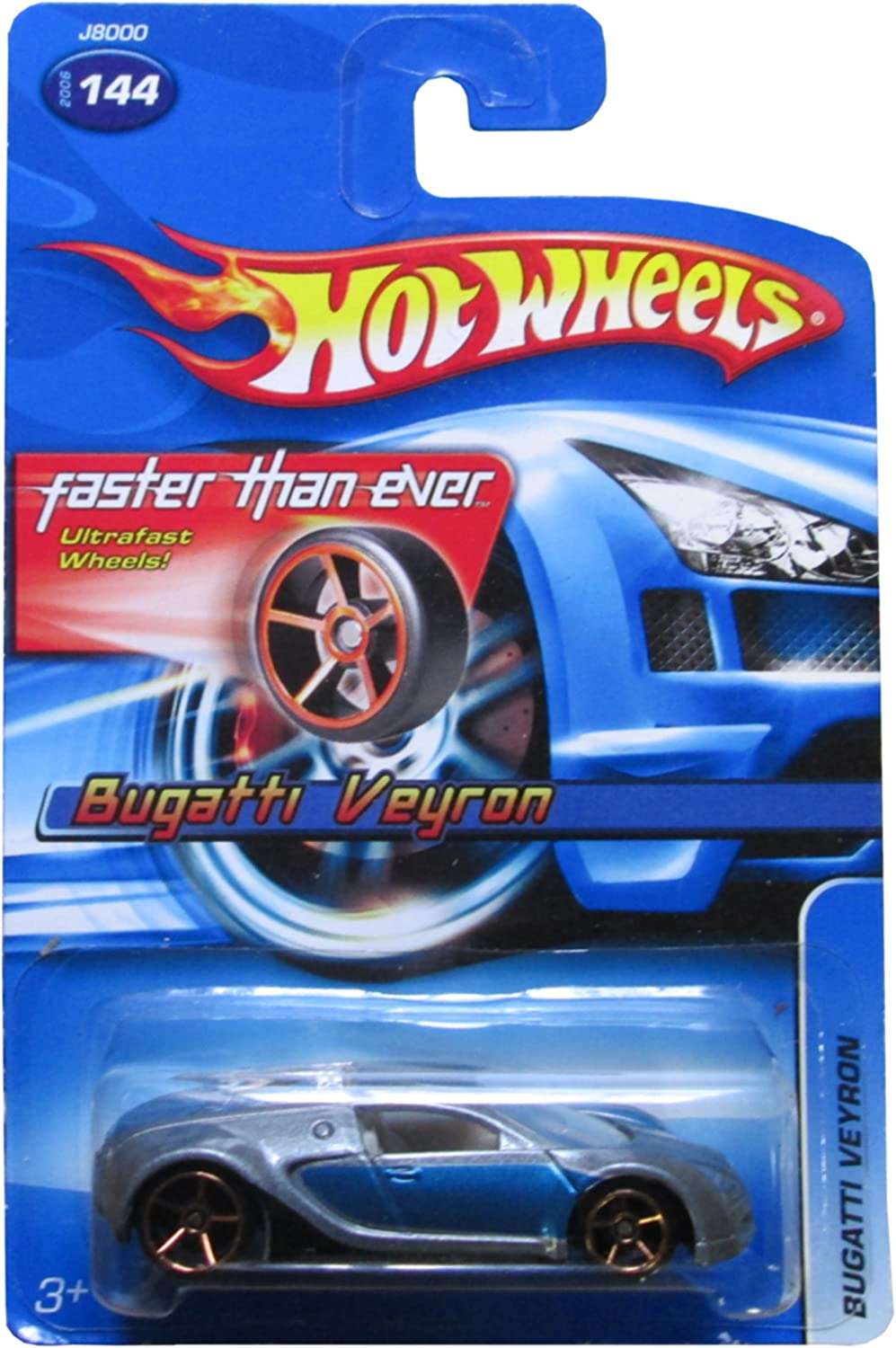 Hot Wheels 2006-144 Bugatti Veyron Blue/Silver FTE Faster Than Ever 1:64 Scale GOLD 5SP Wheels