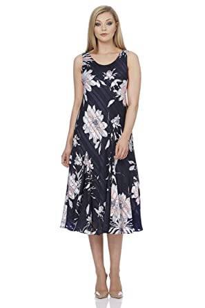 ca1a1eb4fe9 Roman Originals Women s Floral Print Bias Dress - Navy - Size 20 ...