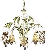 Elk 86052 3-Light Chandelier In Seashell And Amber Glass