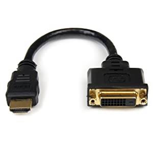StarTech.com HDMI Male to DVI Female Adapter - 8in - DVI-D Gender Changer Cable (HDDVIMF8IN)