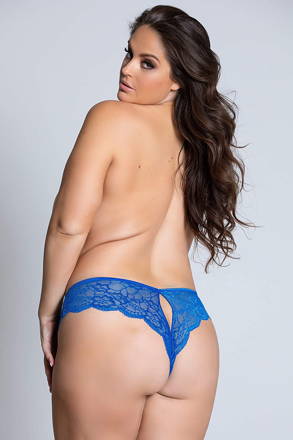 Yandy High Waist Plus Size Lace Open Crotch Cheeky Featuring a Keyhole Detail