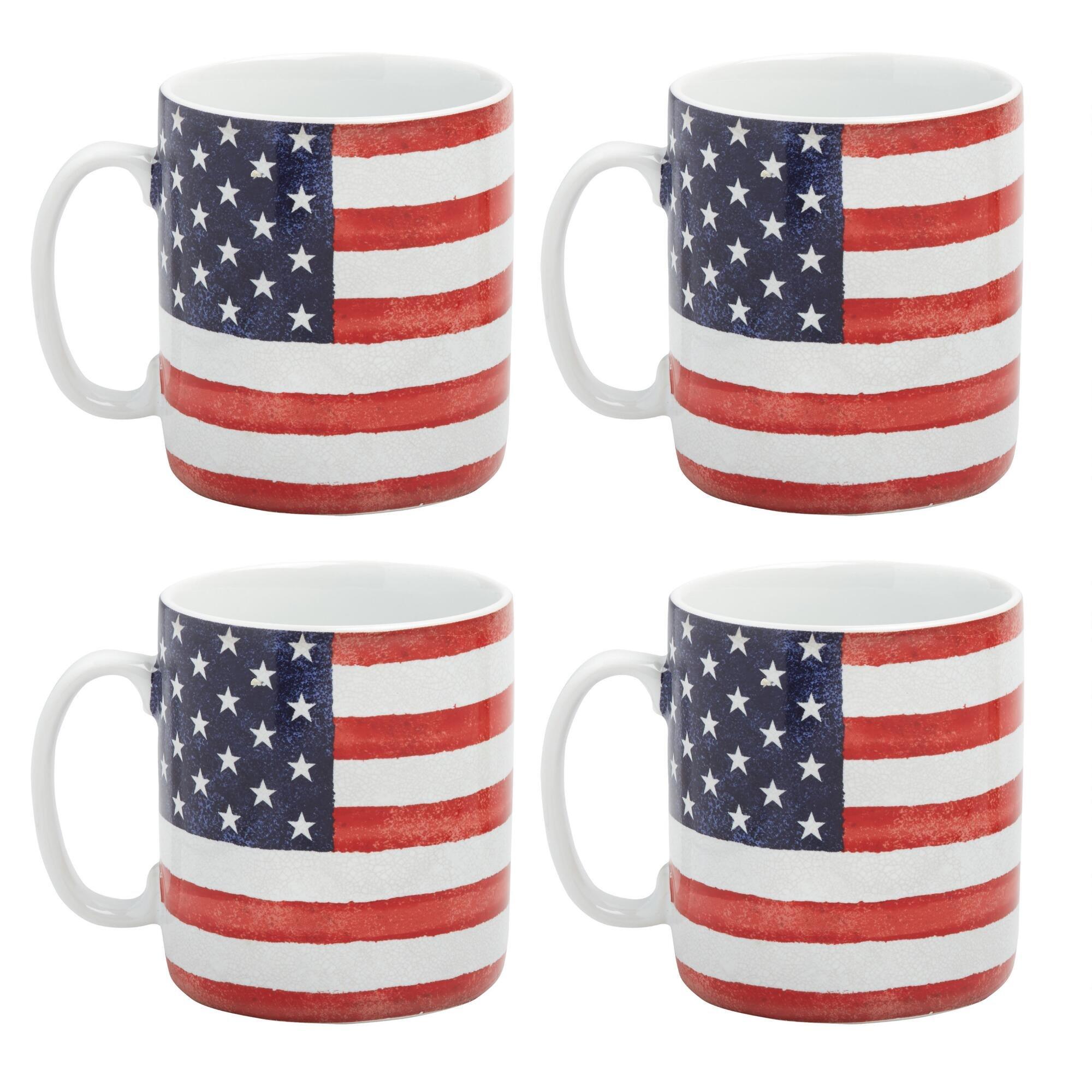 USA Old Glory Jumbo (24 oz.) Mugs, Set of 4 by Port Townsand