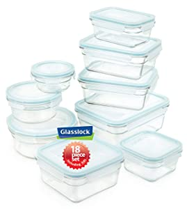 Snaplock Lid Tempered Glasslock Storage Container Airtight 18pc Set Anti Spill Microwave & Oven Safe BPA Free
