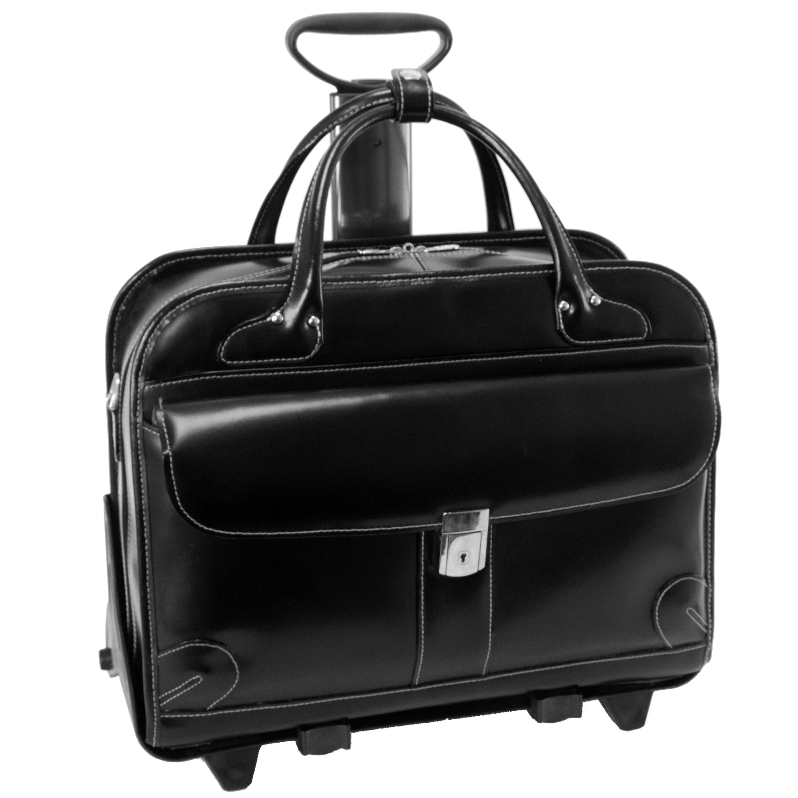 McKleinUSA LAKEWOOD 96615 Black Leather Fly-Through Checkpoint-Friendly Detachable-Wheeled Ladies' Briefcase