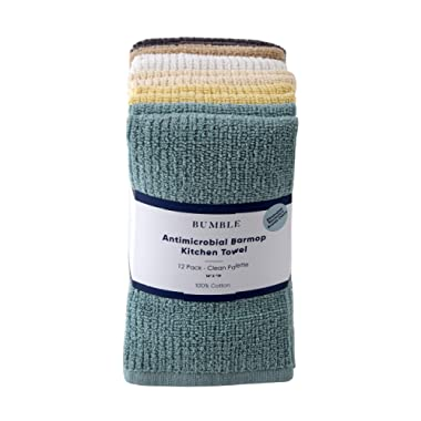 "Bumble 12-Pack Antimicrobial Barmop Kitchen Towels / 16"" x 19"" Premium Kitchen Towels/Super Absorbent Heavy Weight Cotton/Ribbed Weave (Clean)"