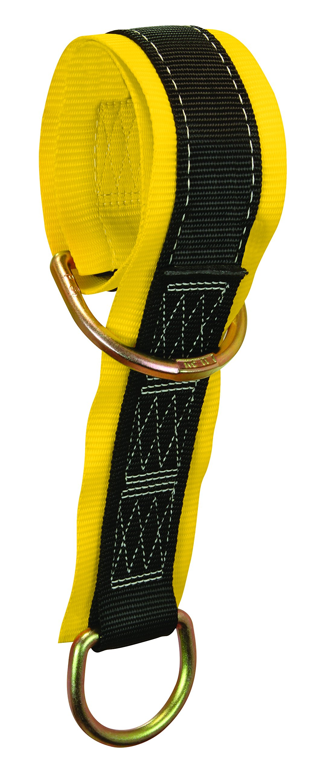 FallTech 7336 Multi-Purpose Pass Through Anchor - Web Pass-Through Anchor Sling with 2 D-Rings and 3'' Wear Pad, 3', Yellow/Black
