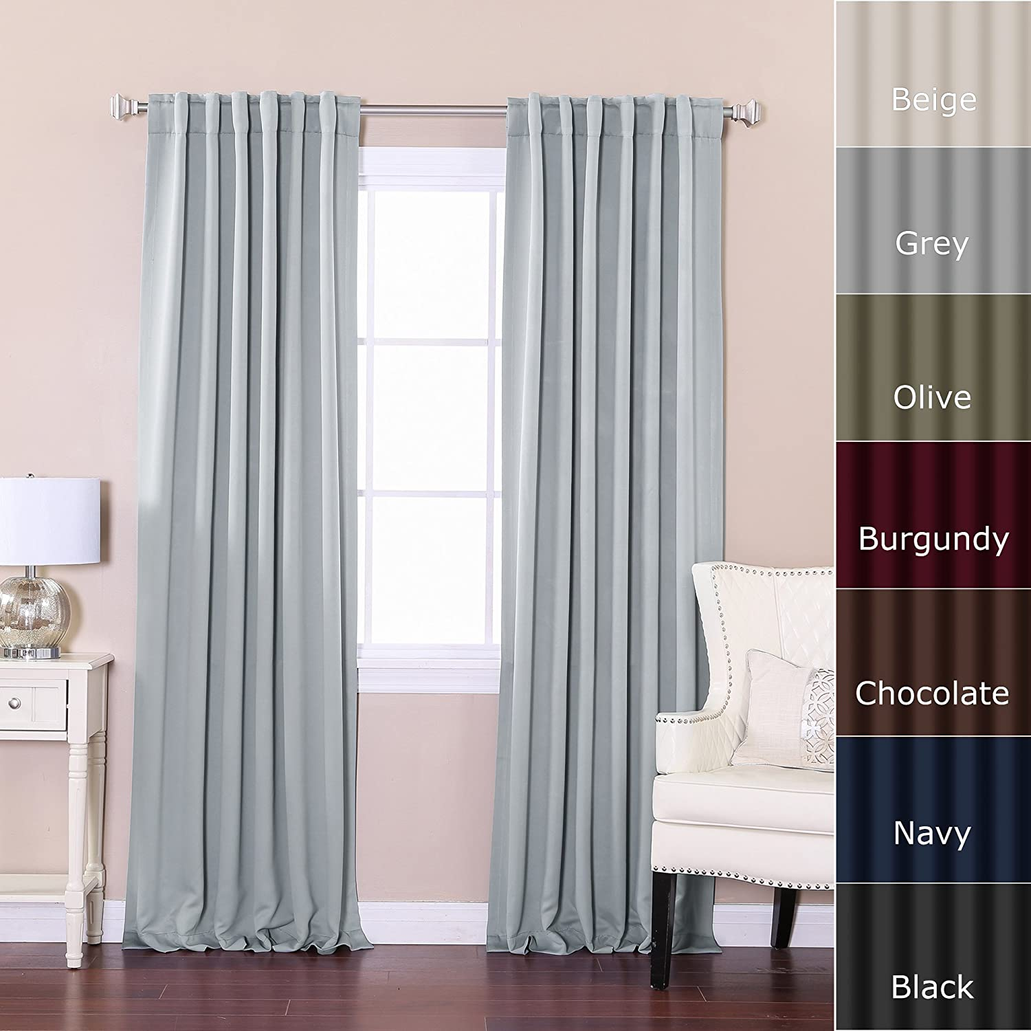 Olive green window panel in curtains amp drapes compare prices - Amazon Com Best Home Fashion Thermal Insulated Blackout Curtains Back Tab Rod Pocket Grey 52 W X 84 L 1 Panel Home Kitchen