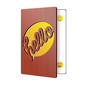 Amazon Wooden Greeting Card Hello Design Premium Handmade