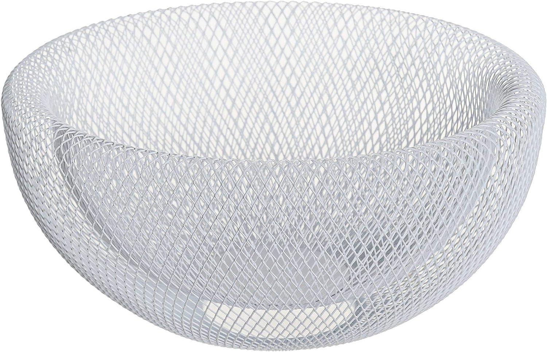 Space Home Blanco Organizador para Frutas y Verduras Cesta Decorativa /Ø 30 cm Frutero Metal
