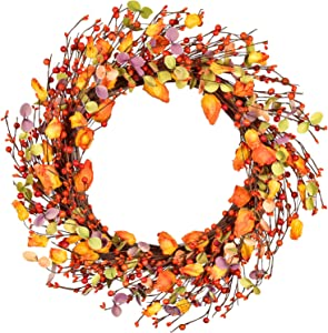 18inch Artificial Front Door Wreath Berry Wreath Fall Maple Leaf Wreath for Halloween and Thanksgiving Decor