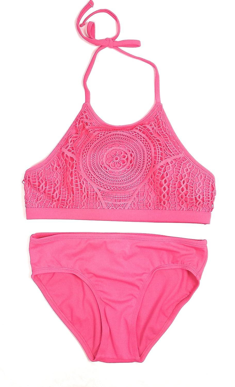 8305b4516d711 Justice Girls Bathing Suit Bikini Coral Crochet Swimsuit 8-20 ...