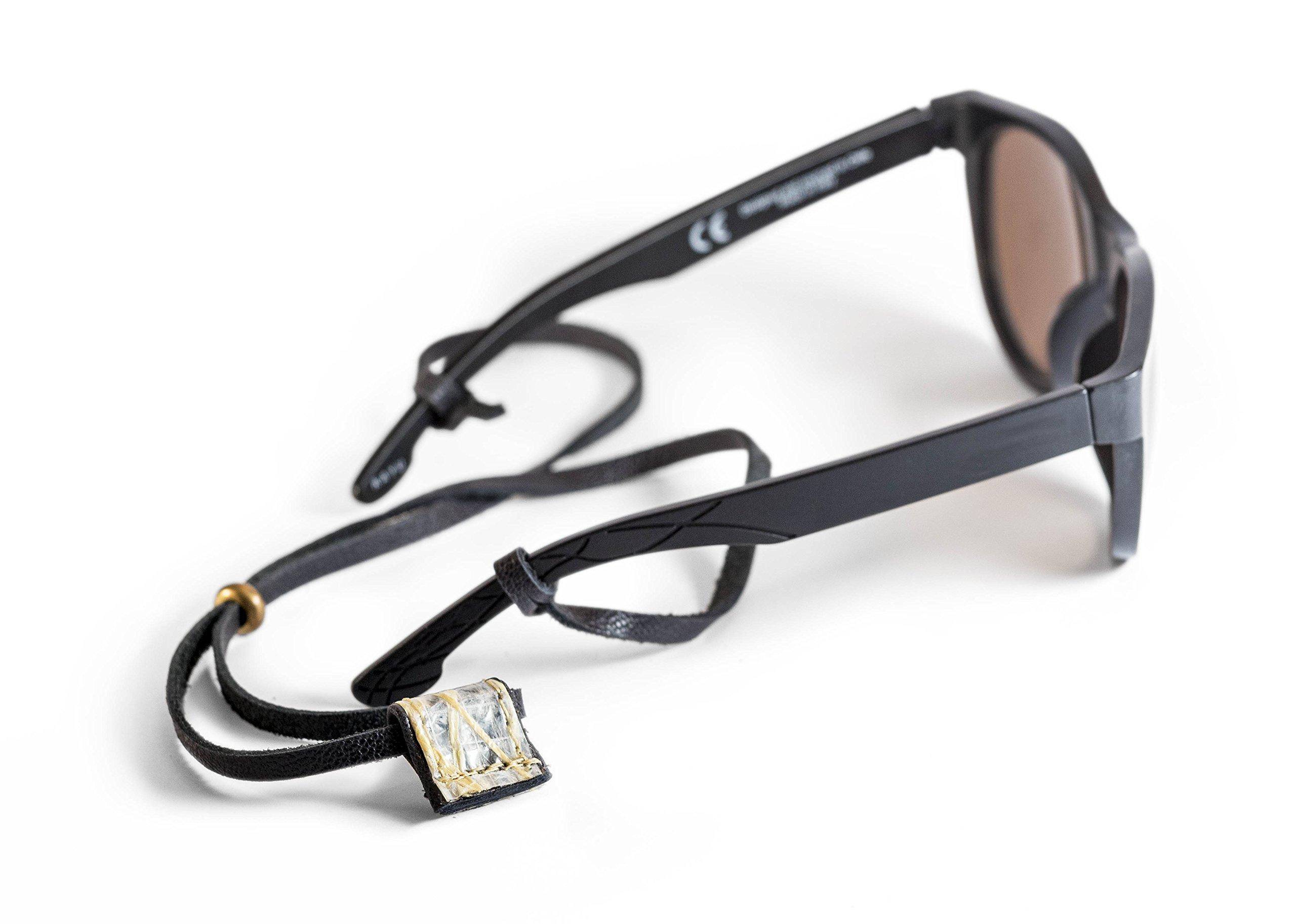 Sunglass Strap, Eyewear holder, Eyeglass Retainer. Handmade, sailing gift leather & sailcloth