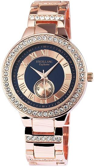 Reloj mujer azul Números Romanos Rosè Oro Strass Chrono aspecto de reloj de pulsera