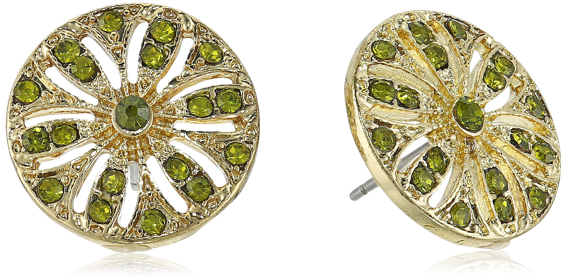 1928 Jewelry Gold-Tone Olivine Green Disk Button Stud Earrings