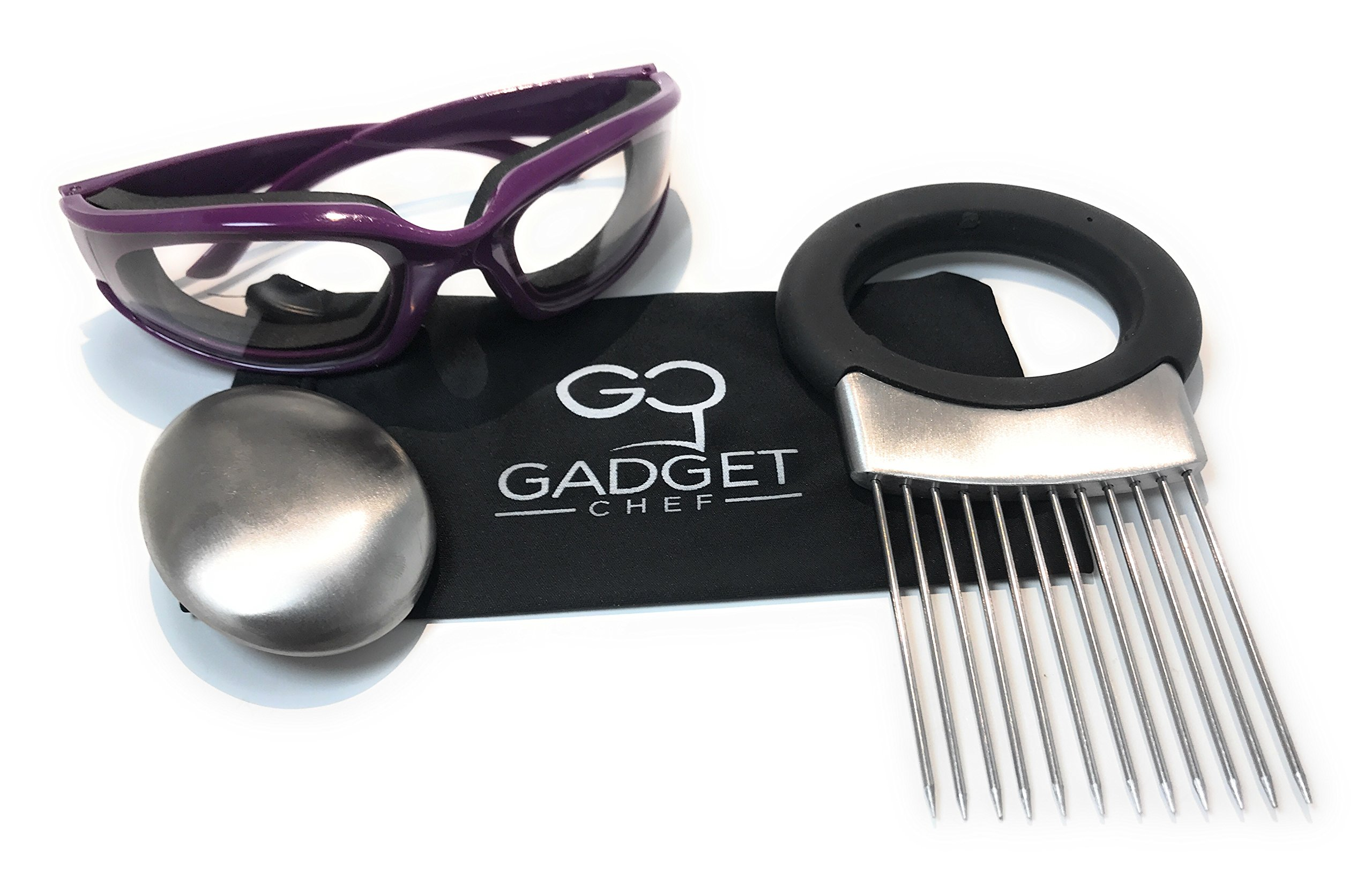 Onion Goggles Onion Holder Set – Includes Tear Free Anti Fog Onion Glasses with Free Micro Fiber Case, All in one Stainless Steel Onion Holder with Odor Remover. Must Have Kitchen Gadget Set (Purple)