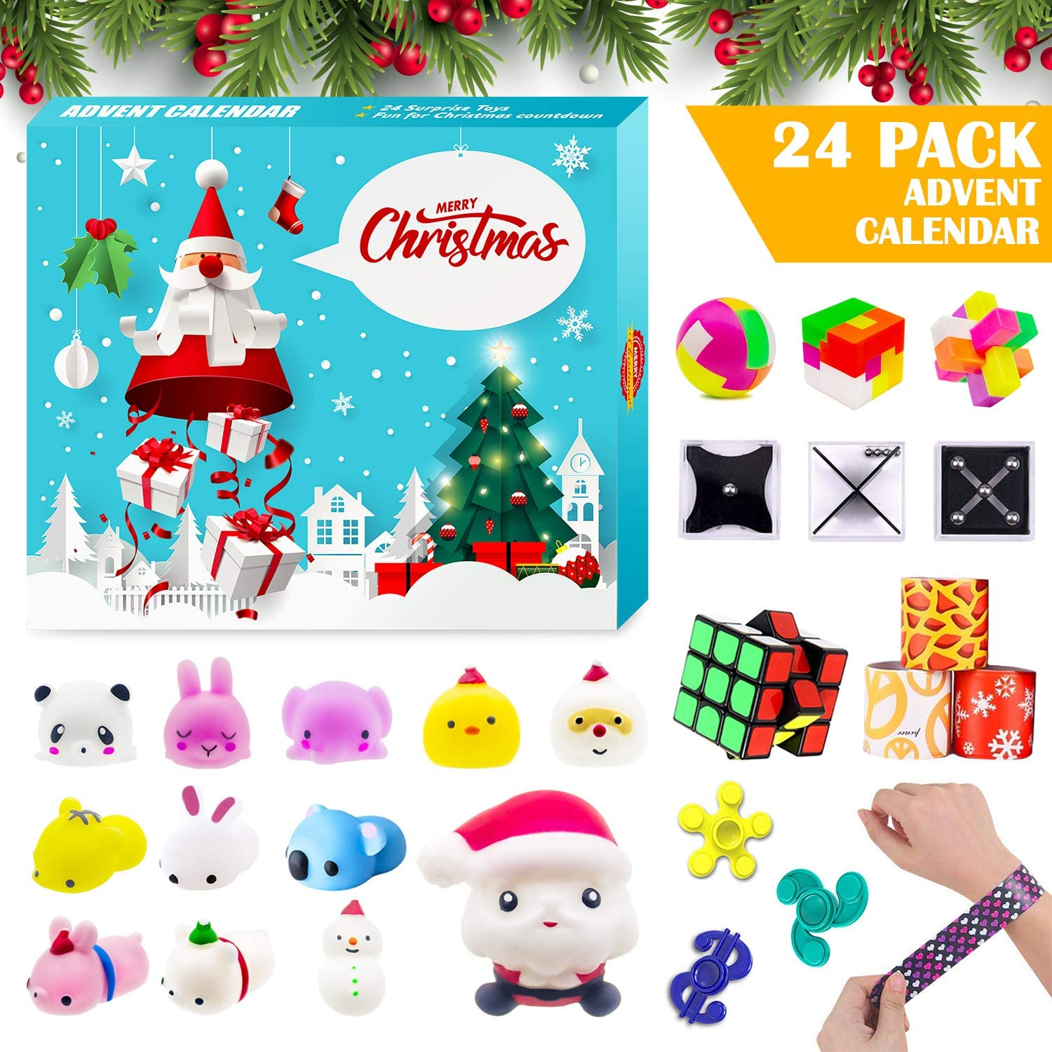 Amazon Com Advent Calendar 2020 Christmas Countdown Calendar 24 Pcs Fidget Relief Stress Toys For Count Down Xmas Holiday Party Favor Kids Adults Challenge Home Kitchen