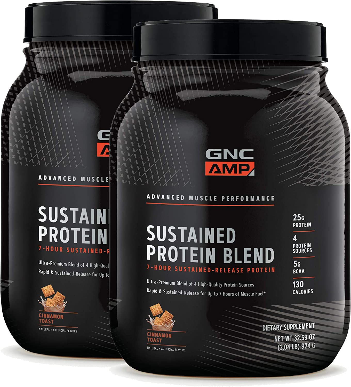 GNC AMP Sustained Protein Blend – Cinnamon Toast – Twin Pack