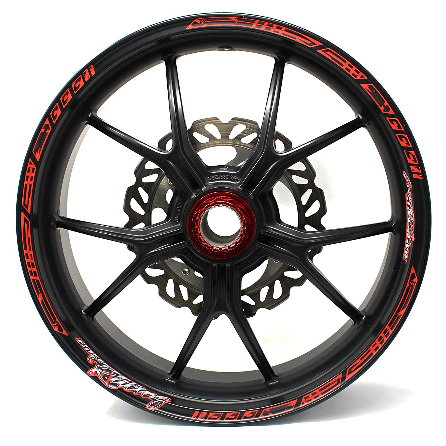 Fits 17 inch /& 16 18 19 Rims Rim Well Decal Motorcycle Car Bicycle Complete Set neon red, glossy Wheel Rim Design incl 18-piece Rim Edge Sticker Neon Line by Finest Folia