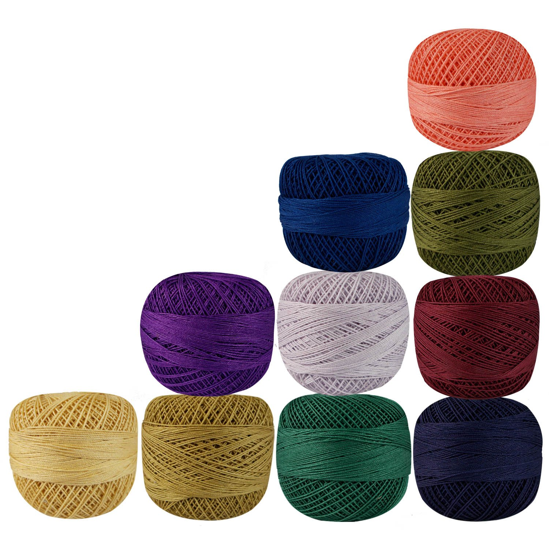 Lot of 10 Pcs Multicolor Cotton Crochet Thread Cross Stitch Knitting Handicrafter Balls Yarn Tatting Doilies Skeins Lacey Craft TeT