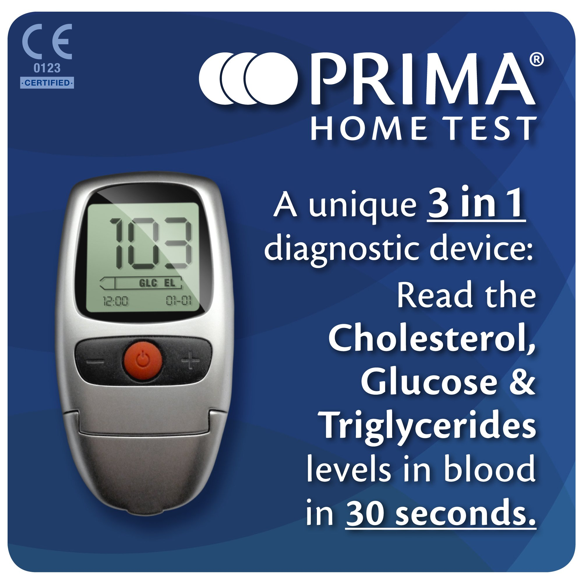 Prima Home Test Multicare-In Meter for Glucose/ Cholestrol/ Triglycerides by Prima