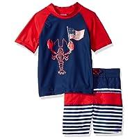 Kiko & Max Boys' Set with Short Sleeve Rashguard Swim Shirt
