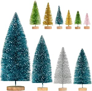 TOUTN 10 Pieces Brush Trees Set, Mini Christmas Tree Artificial Sisal with Wood Base for Christmas Decoration, DIY Home Décor Winter Decoration