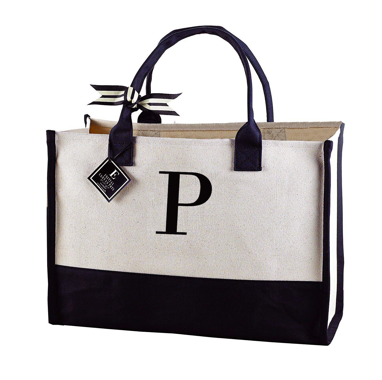 32cc652ac9a7 Amazon.com - Mud Pie 501115 P-Initial Canvas Tote - Tote Handbags